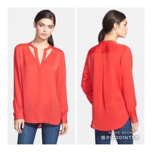 Trouve Red Cutout Blouse